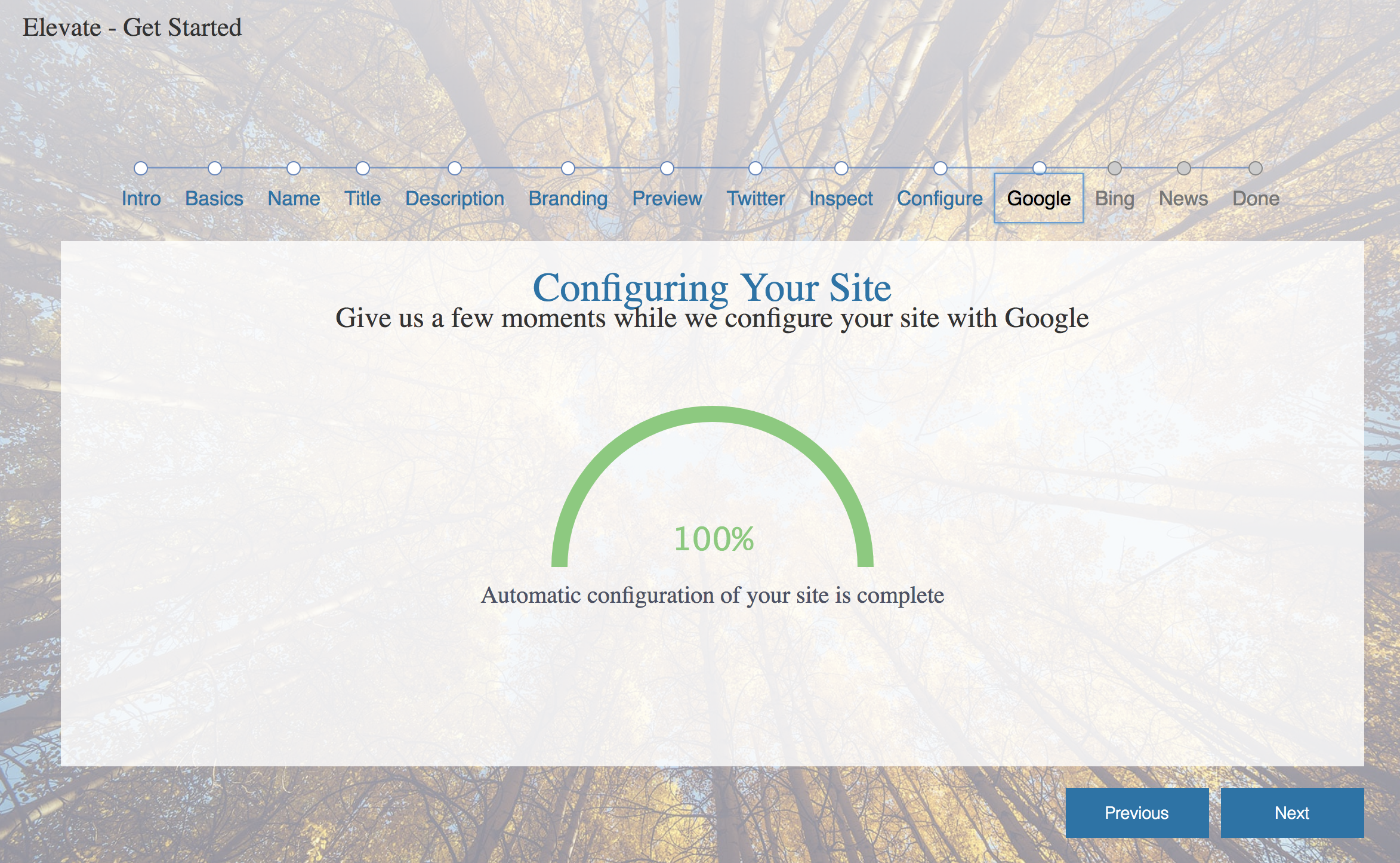 Elevate will automatically verify the site in Google Search Console, create a new Analytics property, and then configure the website to use it.