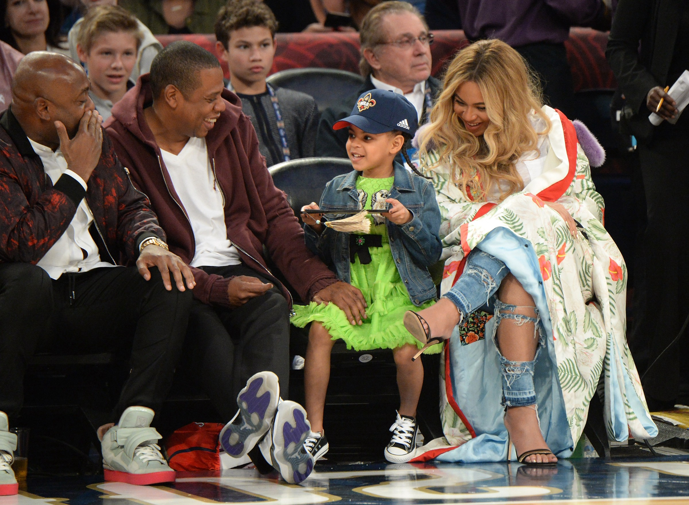 da7049eebbd Jay Z, Blue Ivy Carter and Beyonce Knowles attend the 66th NBA All-Star Game  at Smoothie King Center on February 19, 2017 in New Orleans, Louisiana —  Kevin ...