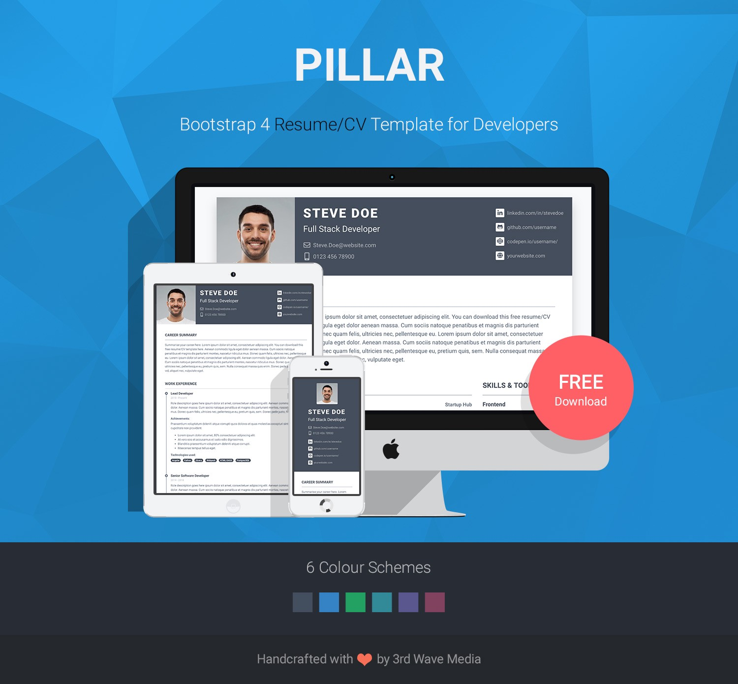 Pillar Is A Free Bootstrap 4 Resume CV Template I Made For Developers Built On And SASS Its Quick Easy To Change The Styling