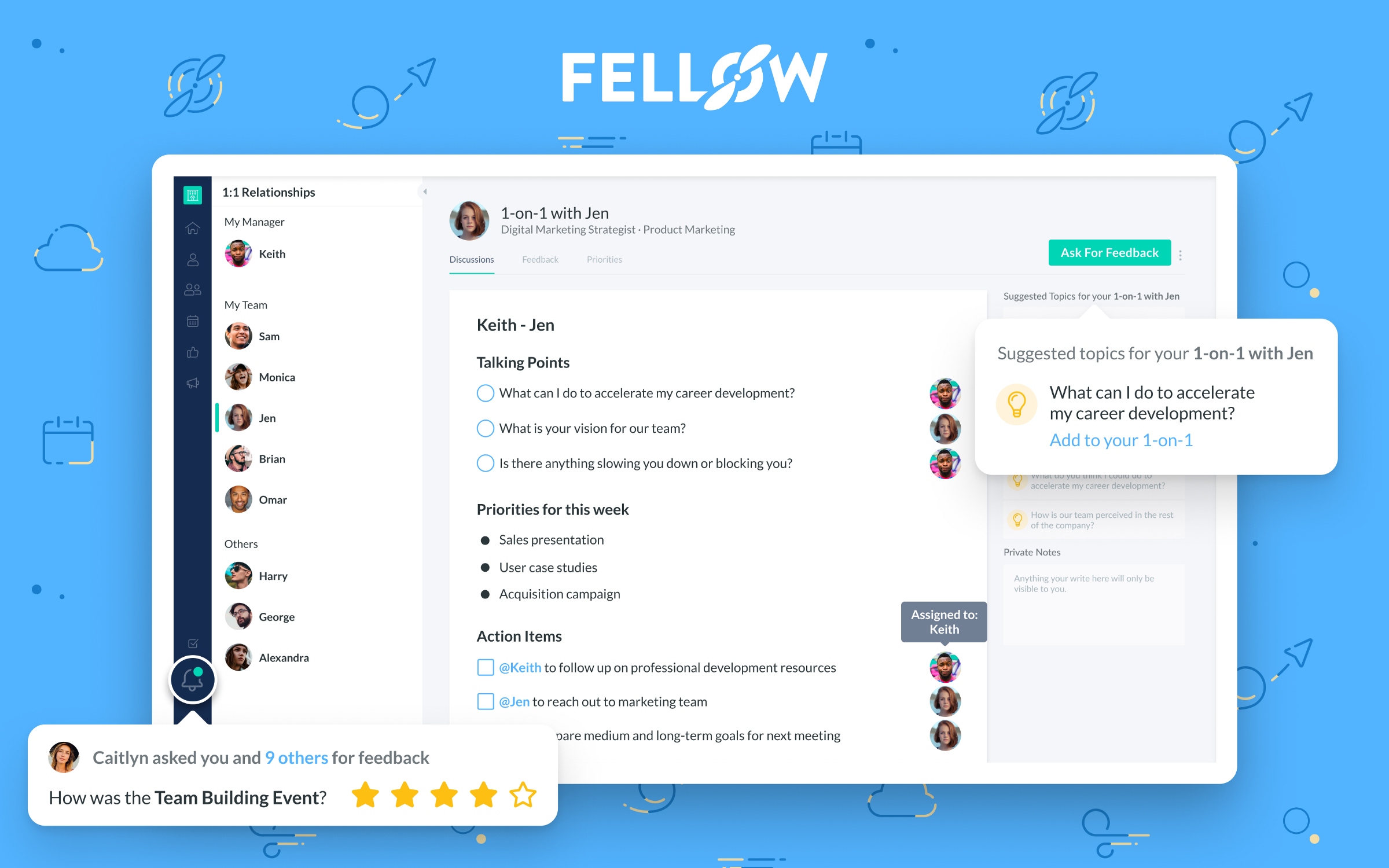 Managers: Fellow is the best 1-on-1 meeting app – Fellow app