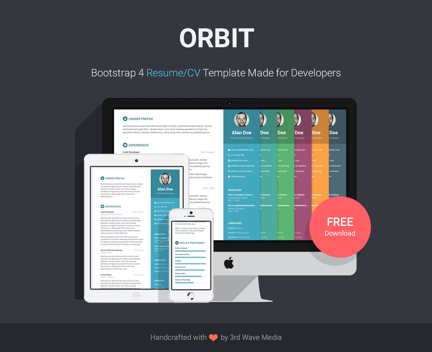 Orbit Is A Free Bootstrap 4 Resume CV Template I Made For Developers Looking To Impress Your Potential Employer Get This And You Can Send An