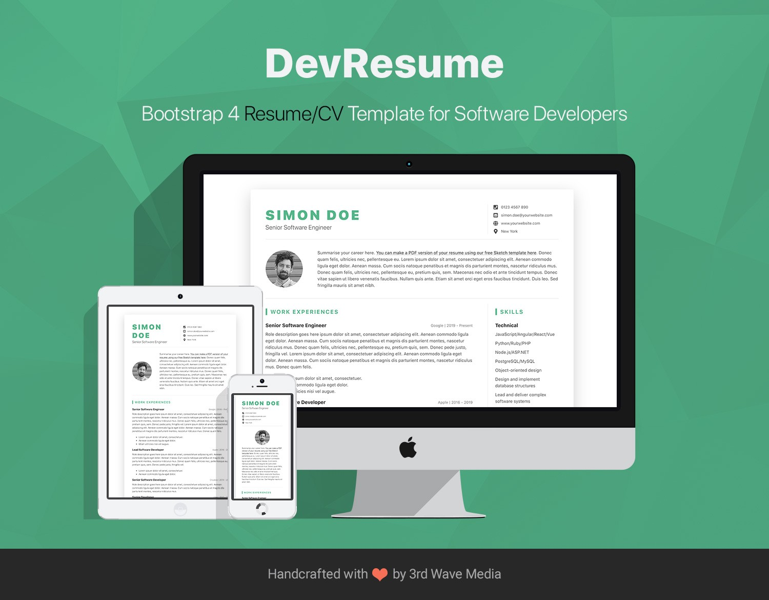 DevResume Is A Free Bootstrap 4 Resume CV Template I Made For Software Developers Built On And SCSS This Super Easy To Customize