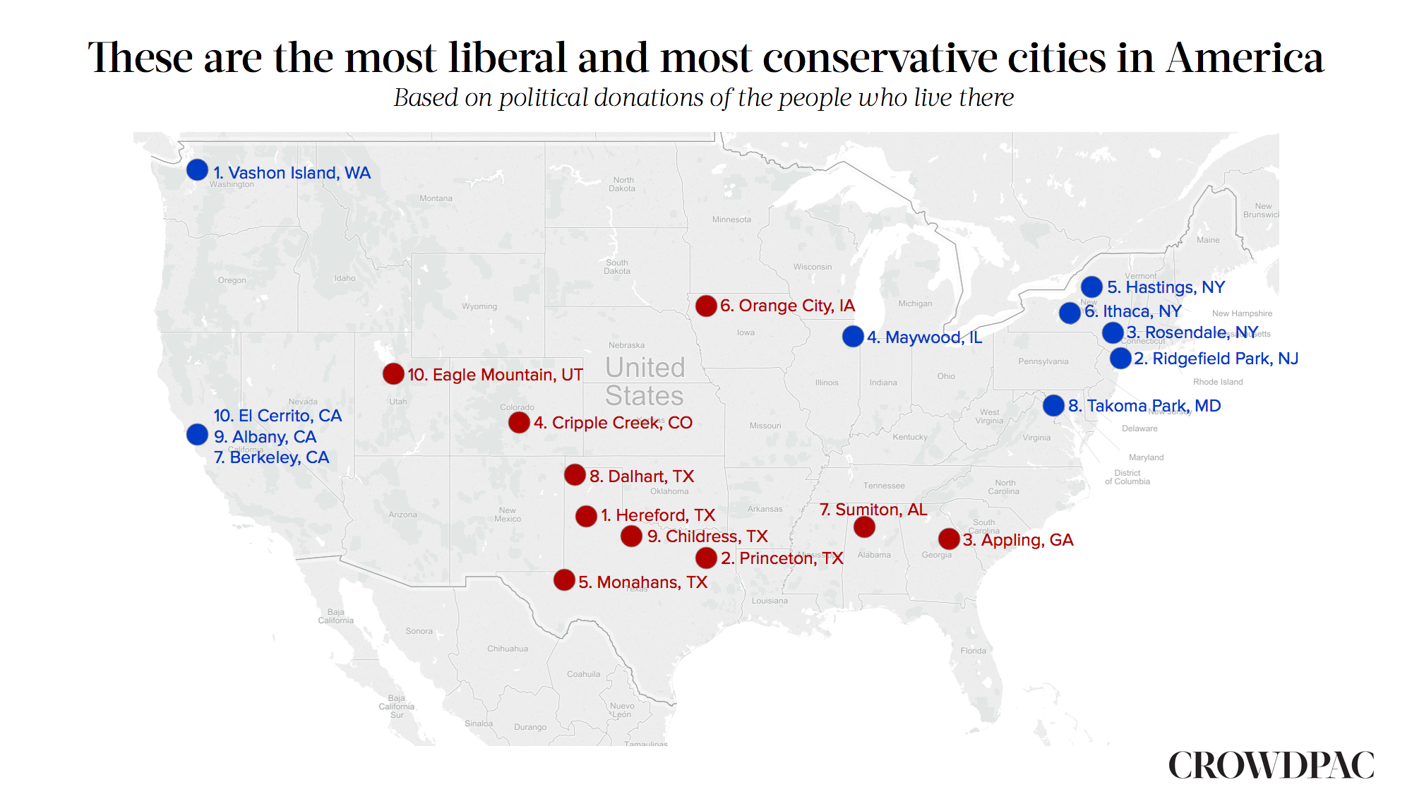 The Most Liberal And Conservative Cities In America