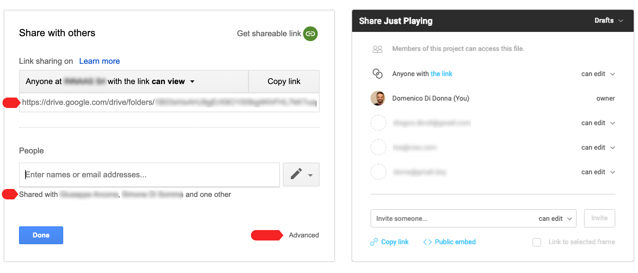 The design of a sharing modal