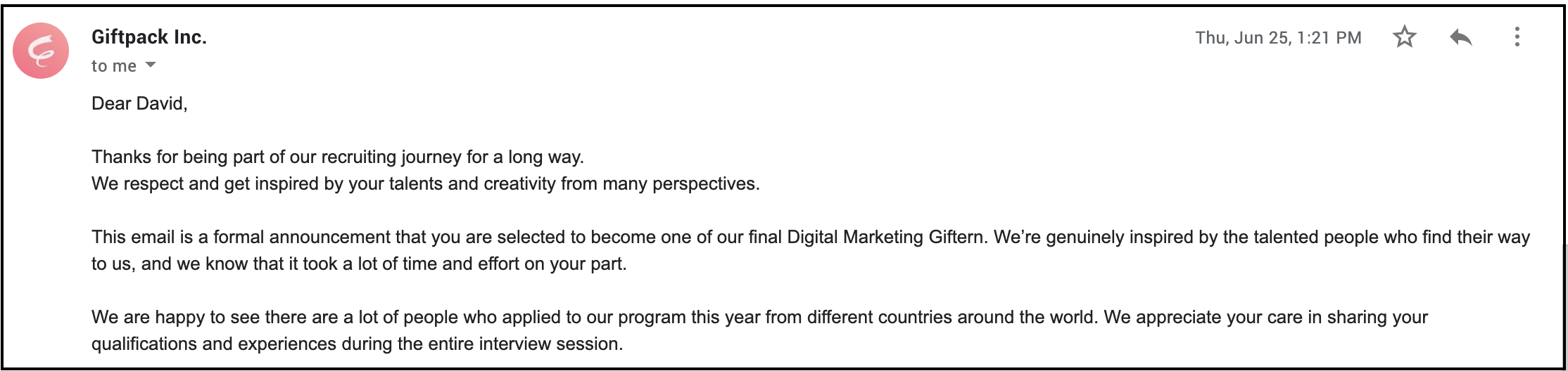 Digital Marketing Giftern的錄取通知信