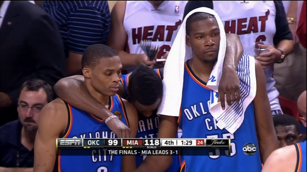 4d39ef39ad22 It s the 2012 NBA Finals and the Miami Heat are 89 seconds from putting the  Thunder away in 5 games. The television feed switches over to a shot of the  ...
