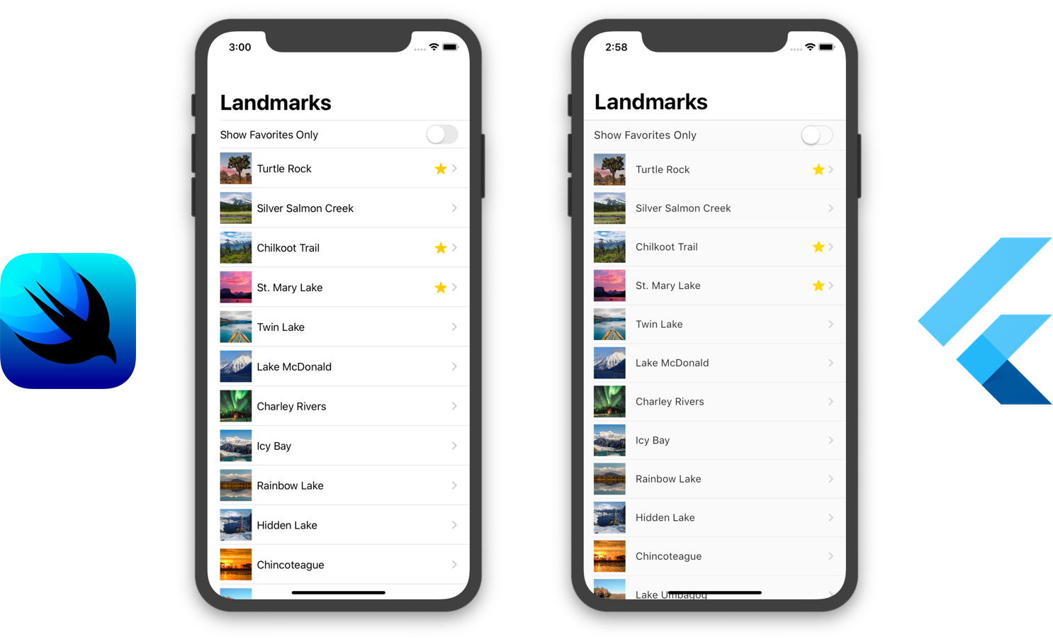 landmarks flutter and swiftui