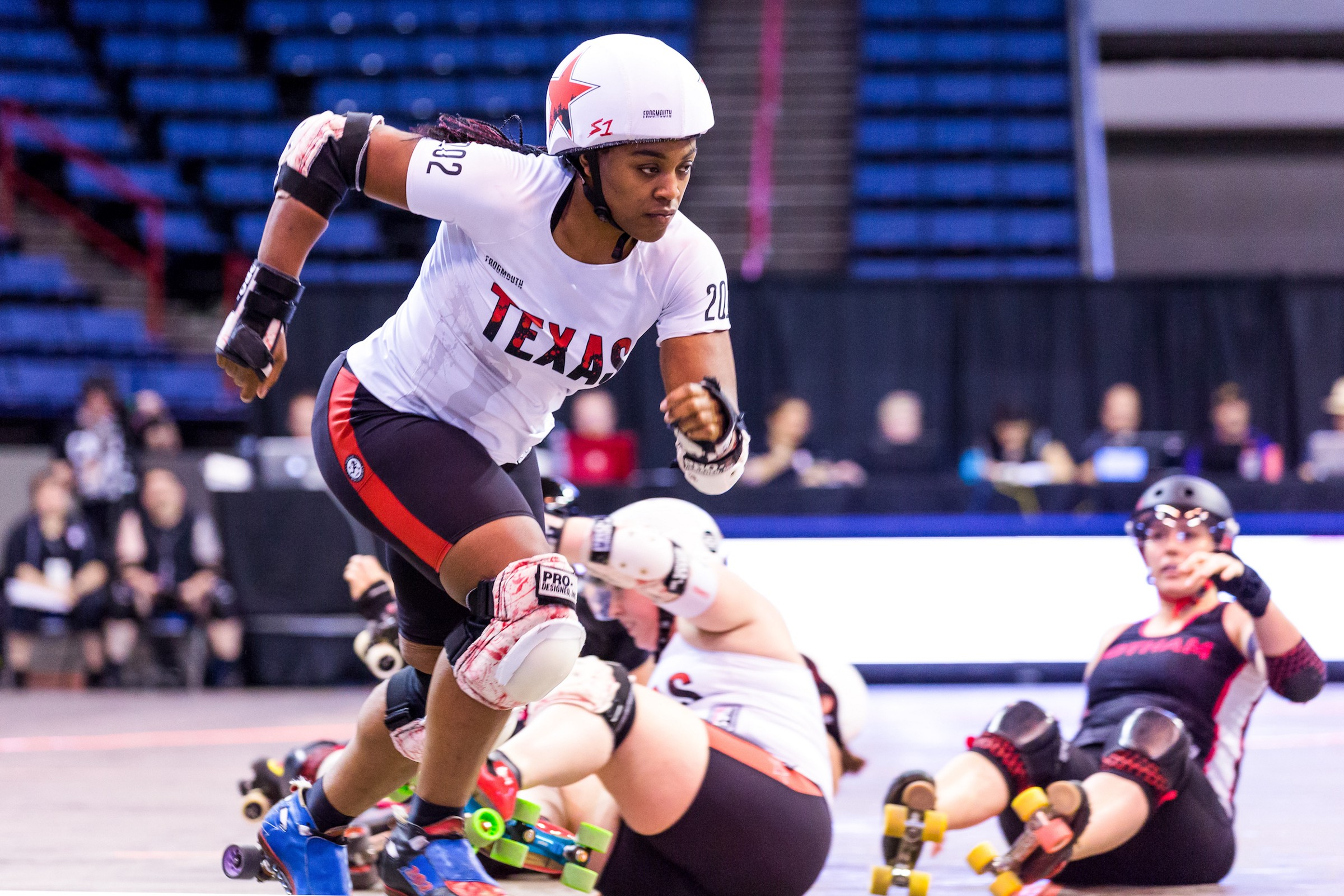 c1090af4173 Freight Train of Texas Rollergirls at the 2018 WFTDA International  Championships, where half the teams wore Frogmouth uniforms. Picture: John  Blood
