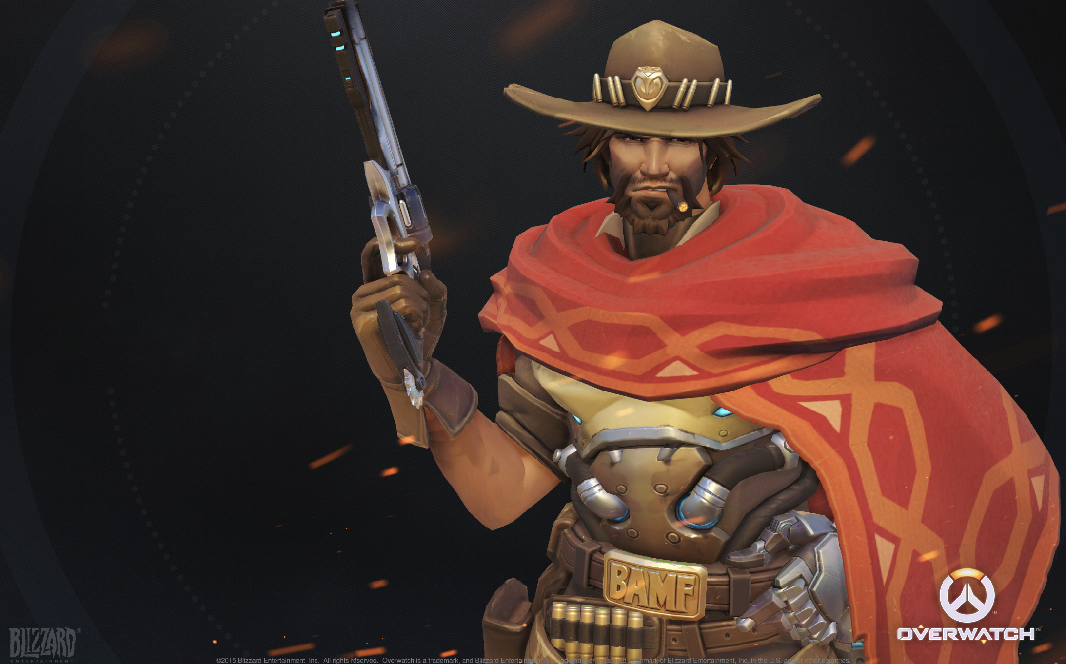 Jesse McCree Referenc guide displays McCree in hi default pose, featuring most of the major elements of the cosplay cosutme.