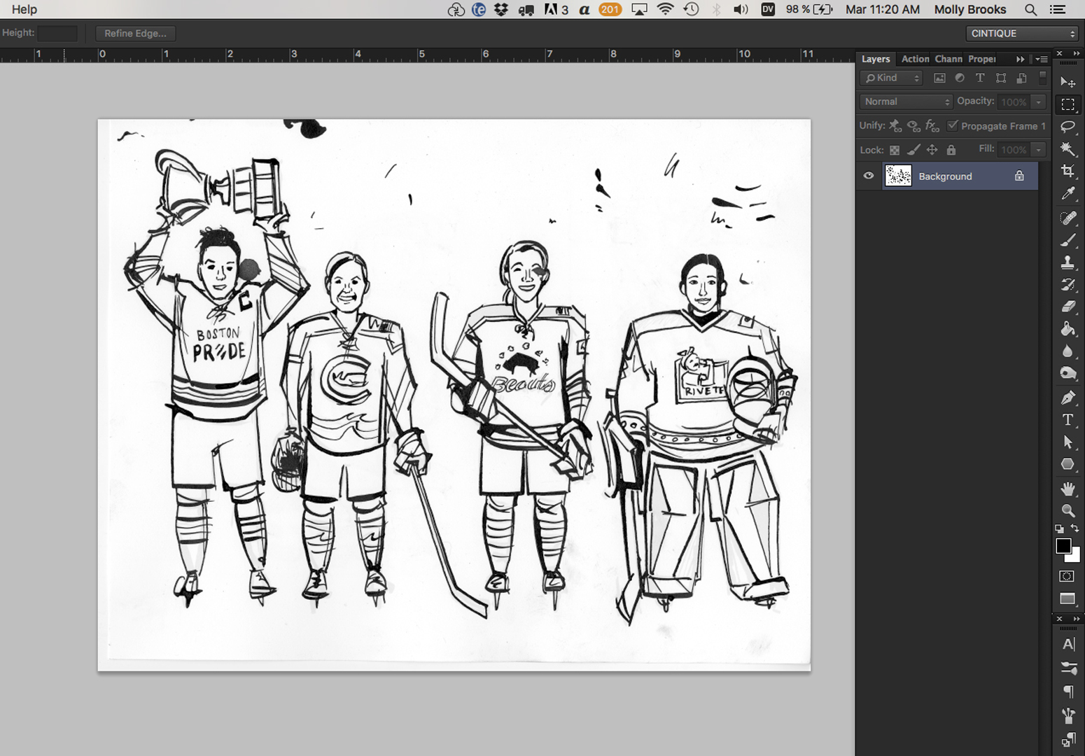 How to isolate scanned linework in photoshop