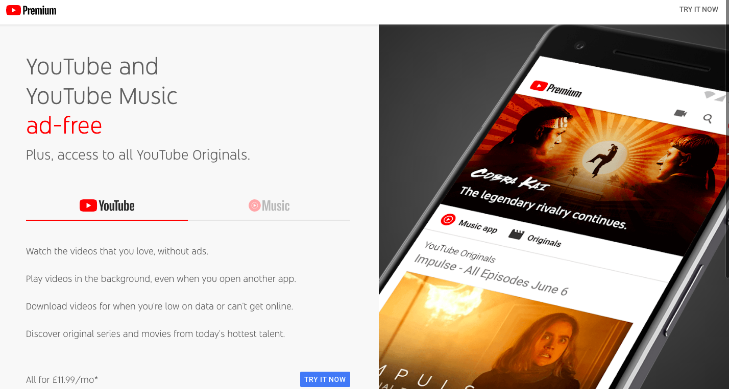 b6e91084f28 I think this is what was formally known as YouTube Red in USA