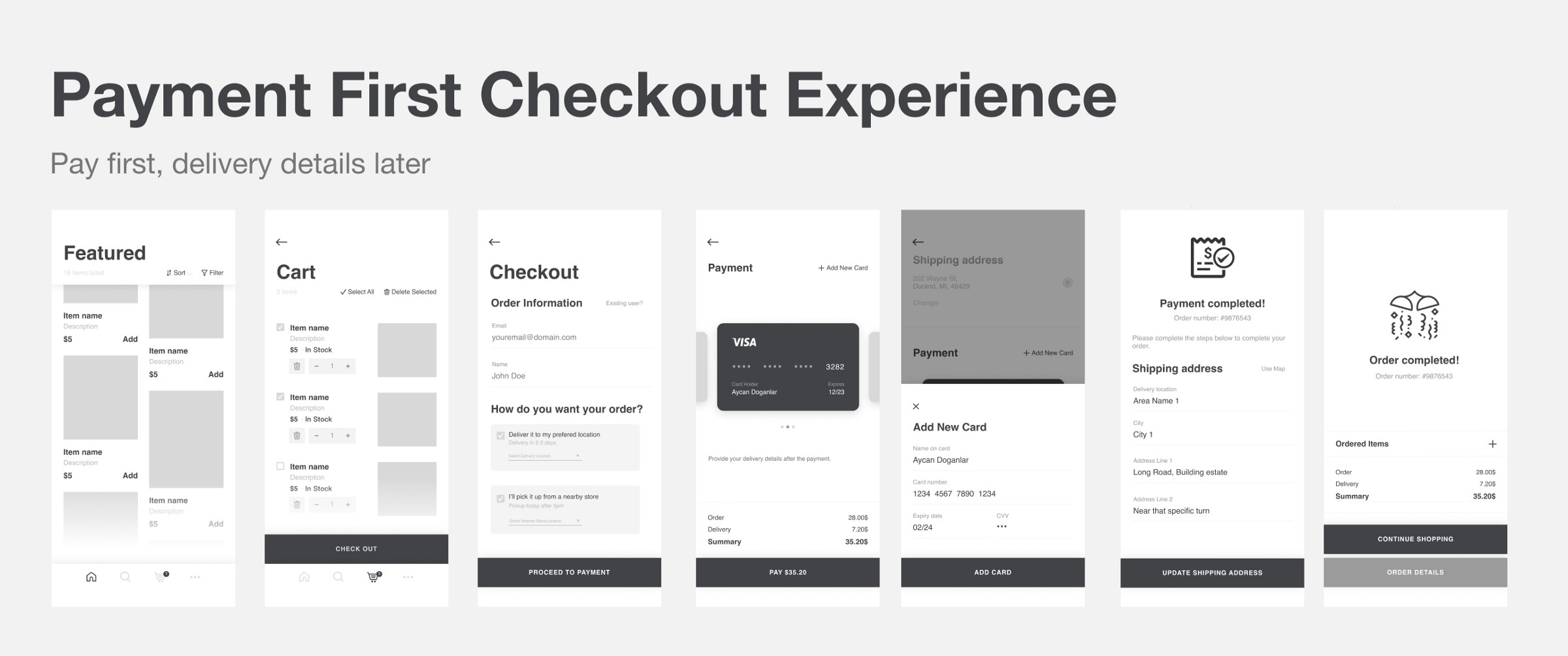 Payment-first checkout experience — a UX exploration
