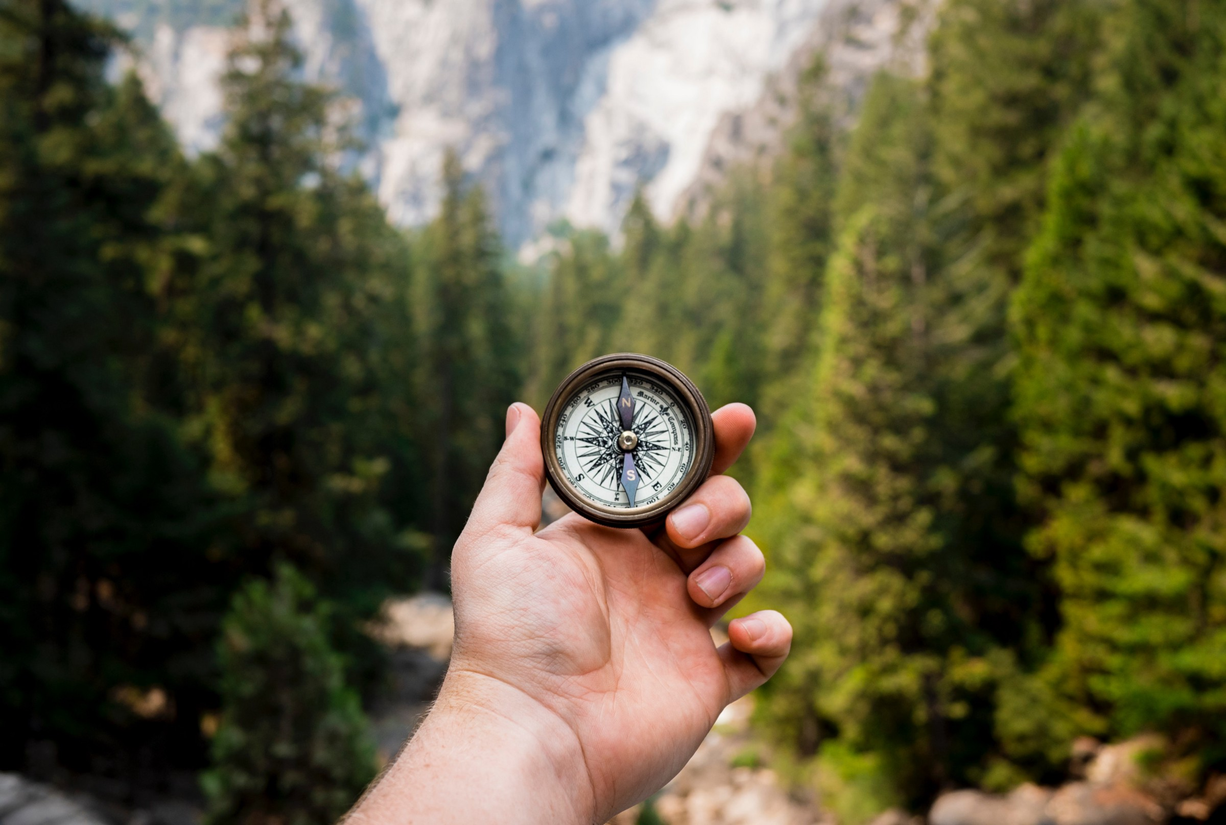 Navigating with a compass in Yosemite National Park