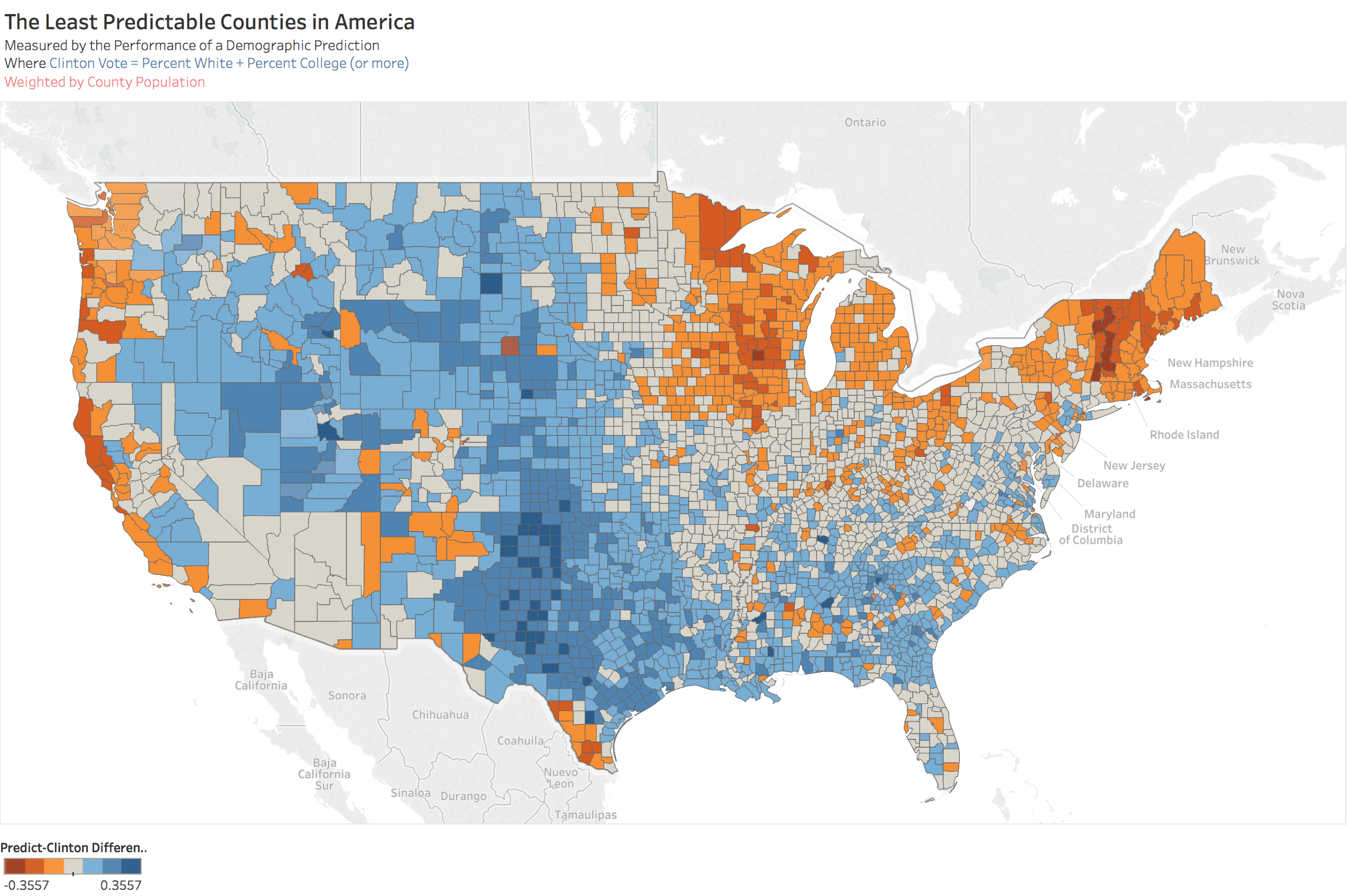 The Least Predictable Counties in the United States
