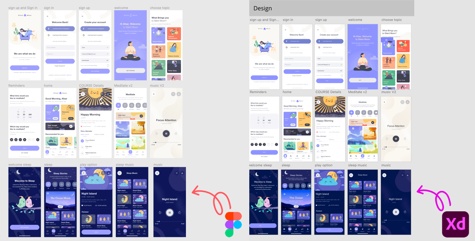 Side by side comparison of Figma and XD converted artboards