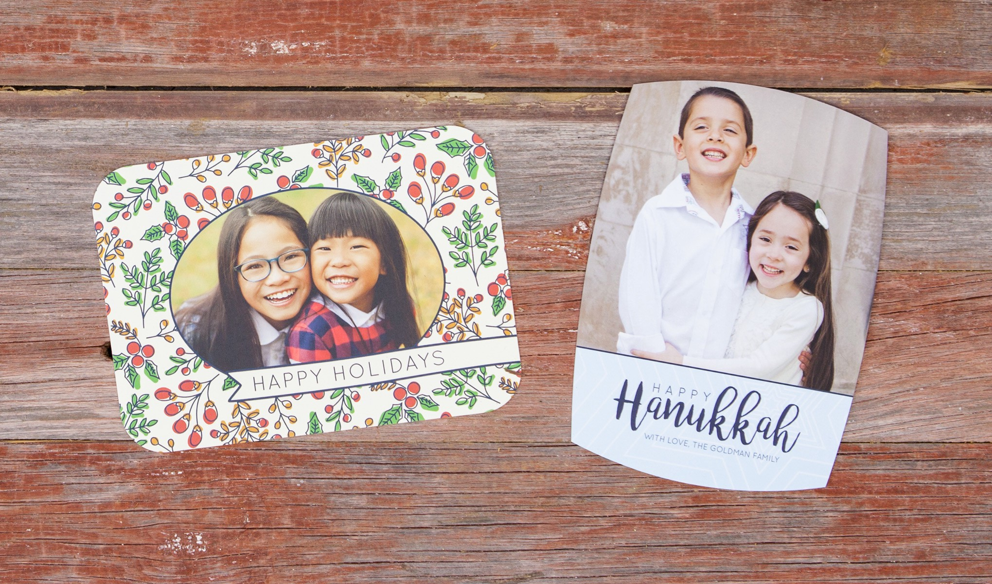 """Pictured left to right: 5x7"""" Boutique Flat Card in shape A2 and 5x7"""" Boutique Flat Card in shape A4"""