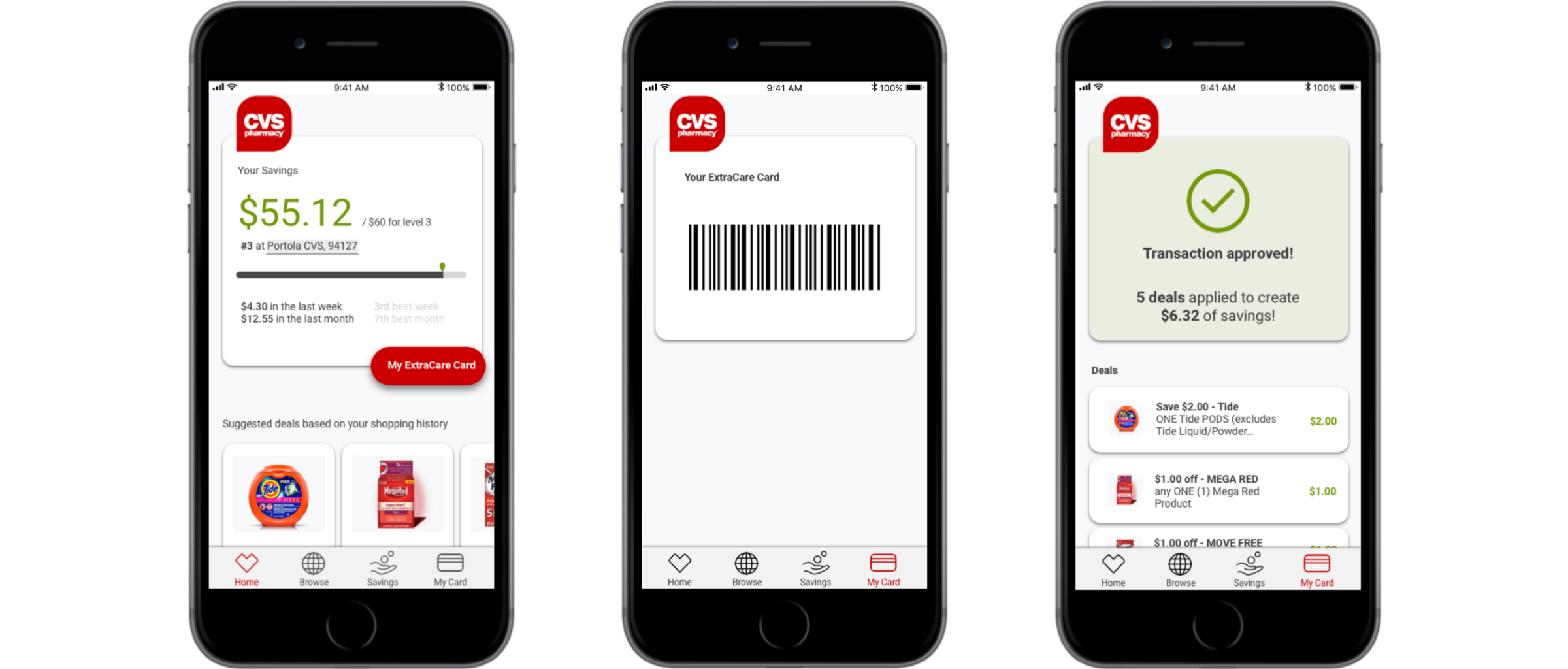 45c8eb83 A modified CVS ExtraCare app may look something like this: (from left to  right) dashboard that incentivizes saving, card, and validation of coupons.