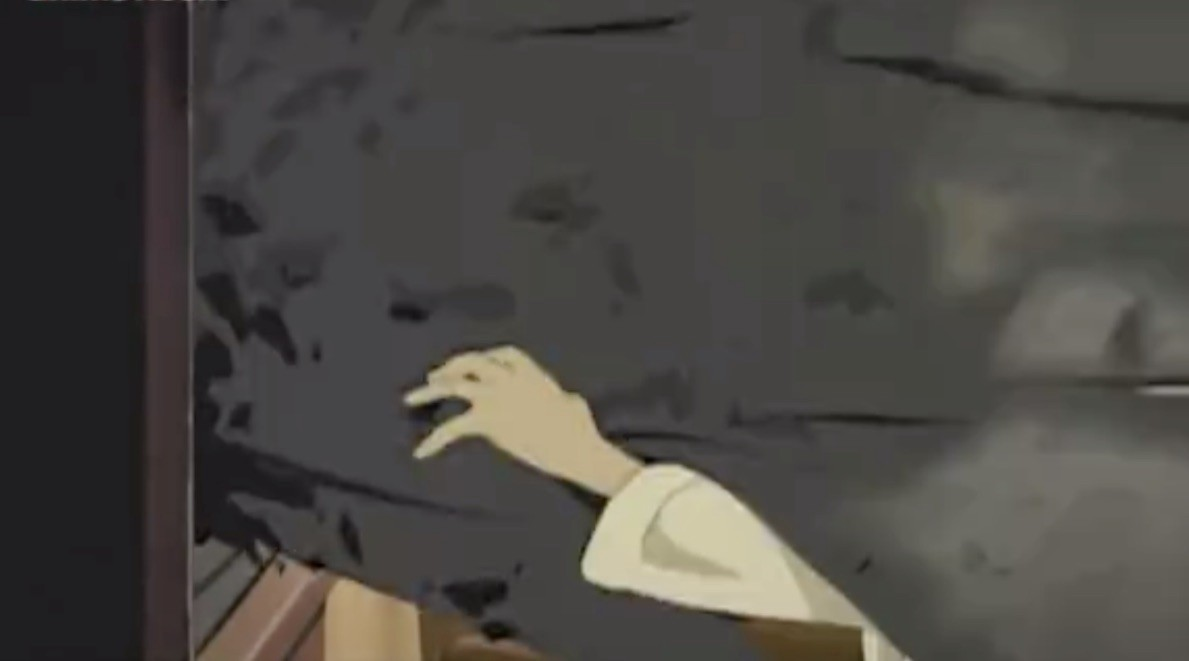 Black goo pours out of a television in Paranoia Agent (2006)