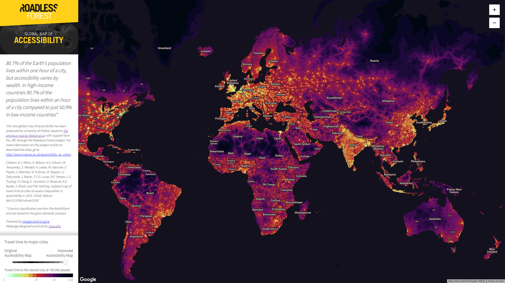 Global map of access to cities published by Nature.