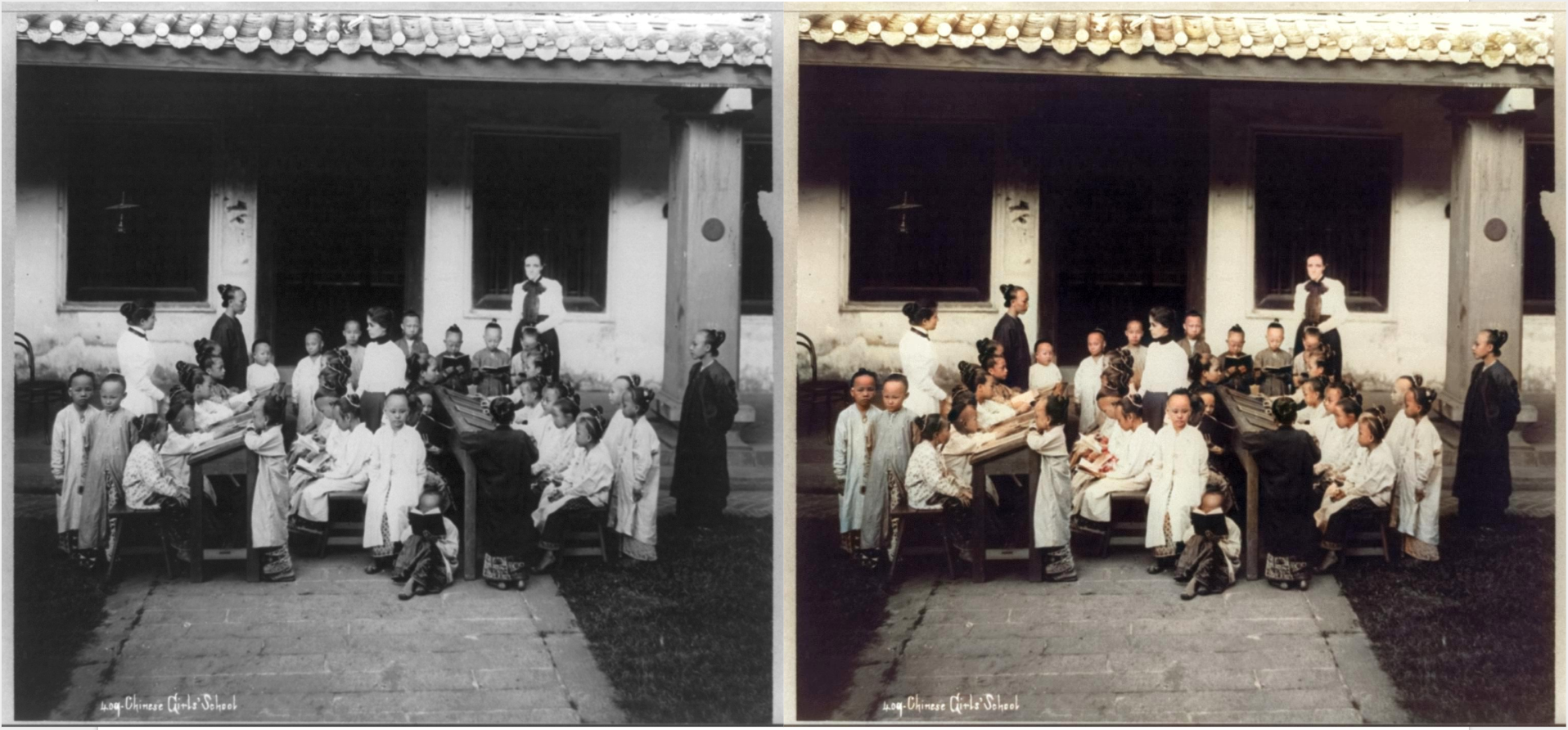 Original black and white photo left and the colourised result generated by colourise sg right chinese girls school singapore
