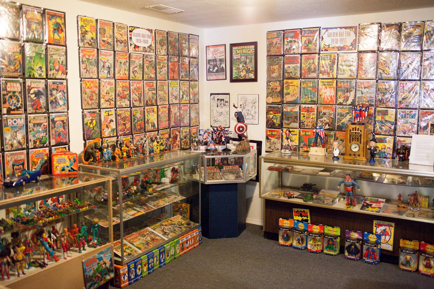 7cfb7cbd9 Vintage comic books and action figures on display at Hall of Heroes,  Elkhart, IN.
