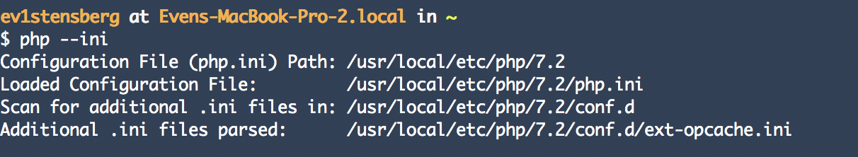 Our configuration file for php is under usr/local/etc/php/7.2