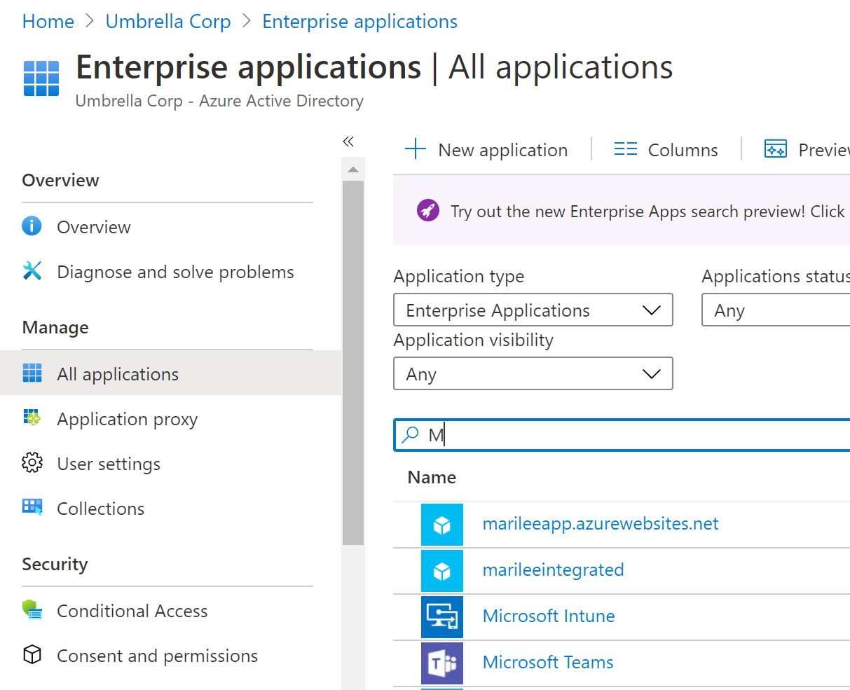 """Example showing my """"marilee app"""" custom app, and Microsoft Enterprise Apps in the Enterprise Applications blade"""