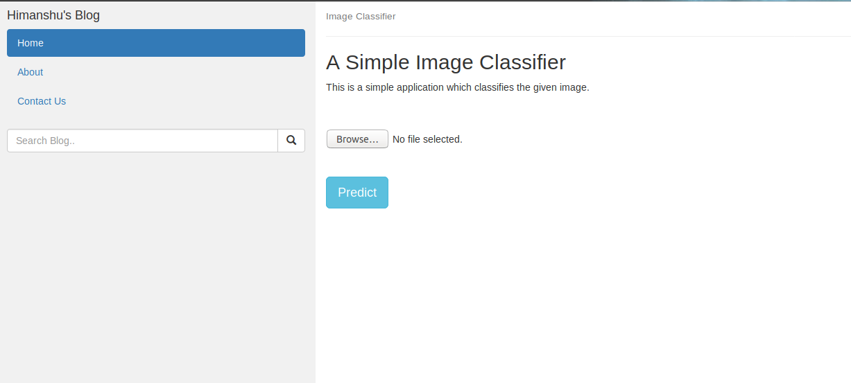 Figure 4: Our classifier's home page