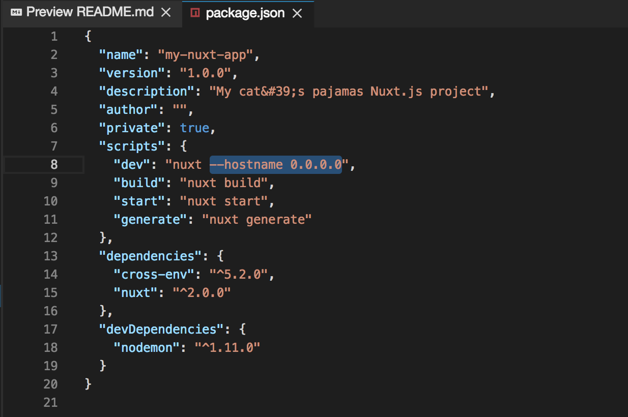 package.json allow external access to the dev server