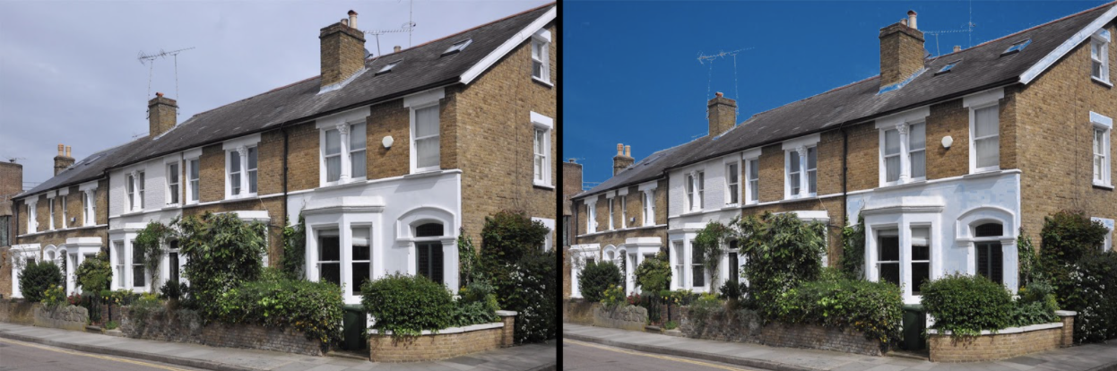Grey skies in the left-hand image; unrealistic sky replacement in the right-hand image.