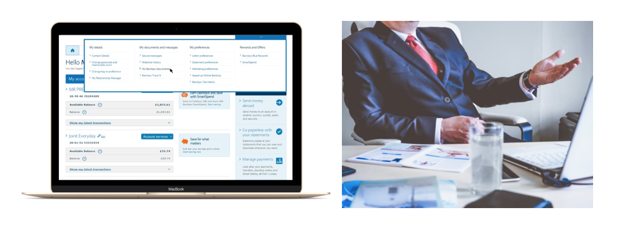 Interface option 1: Your bank's website OR Interface option 2: An appointment with a consultant at your bank