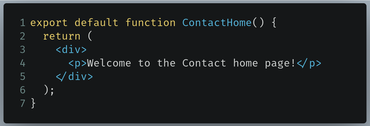 Code to write in /pages/contact/index.js