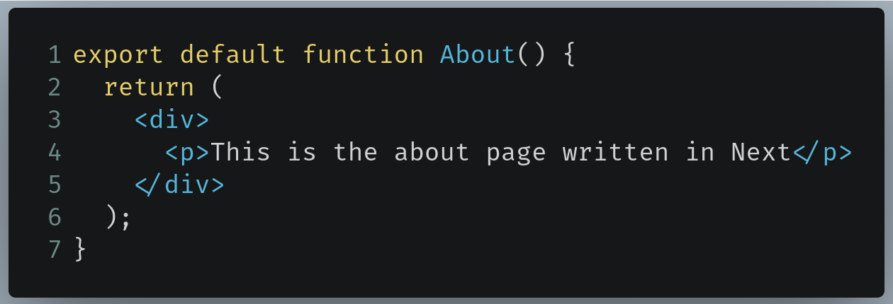 Code to write in /pages/about.js
