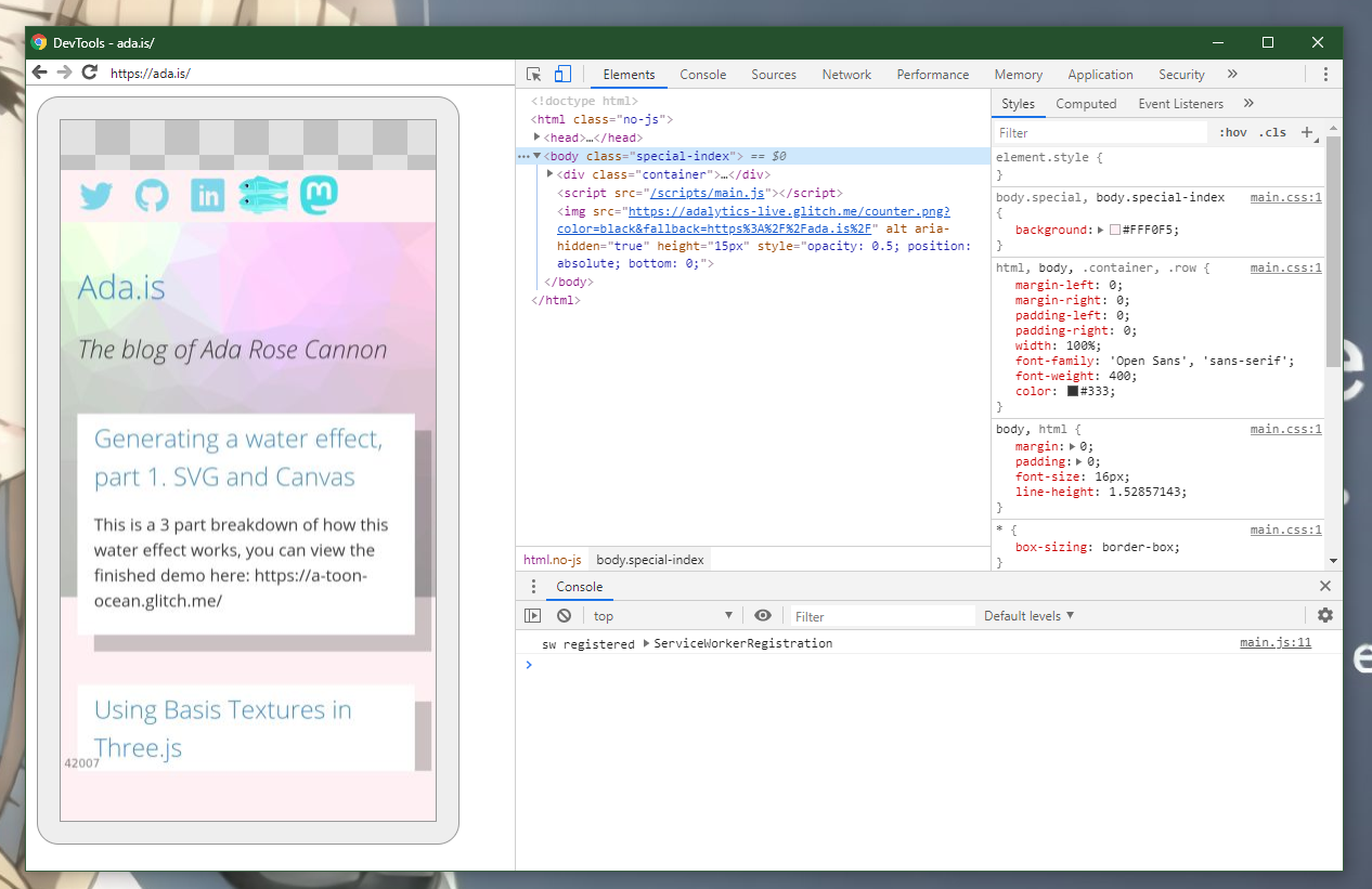DevTools running on a mobile phone.