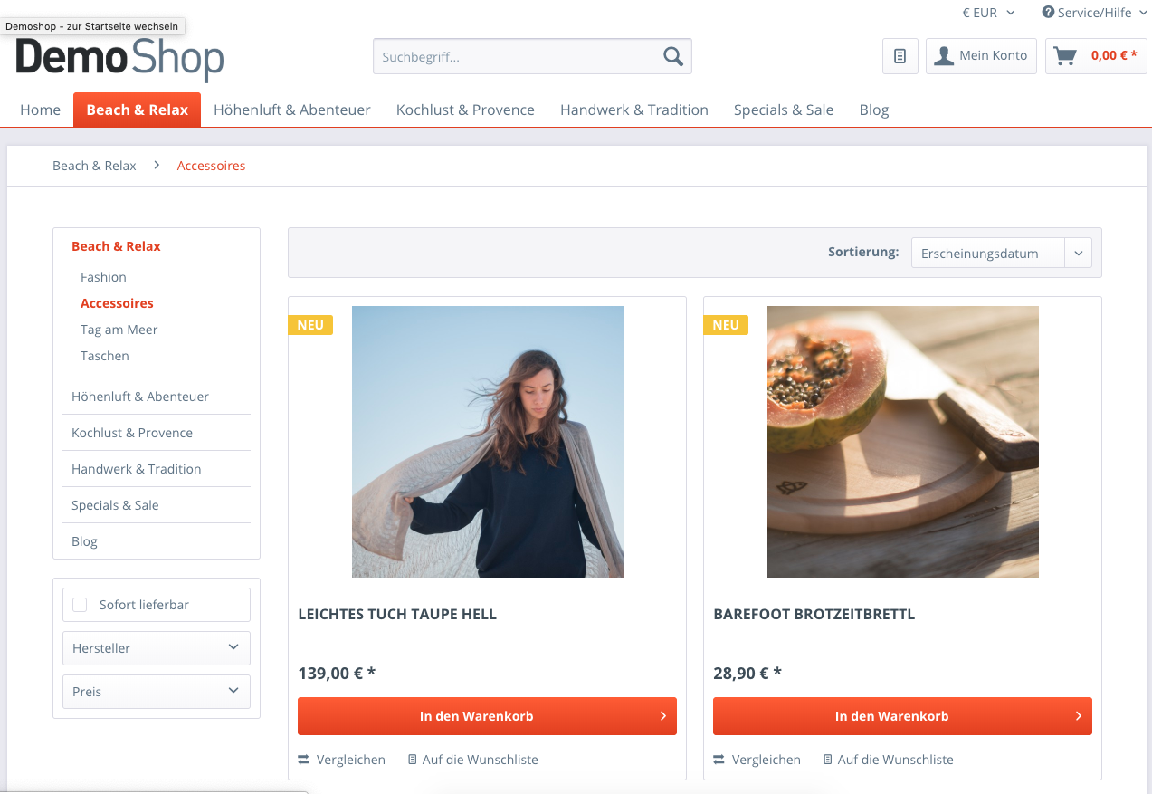 Shopware Demo Shop Category Page