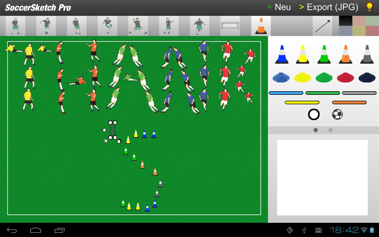 Screenshot of SoccerSketch running on Android Honeycomb