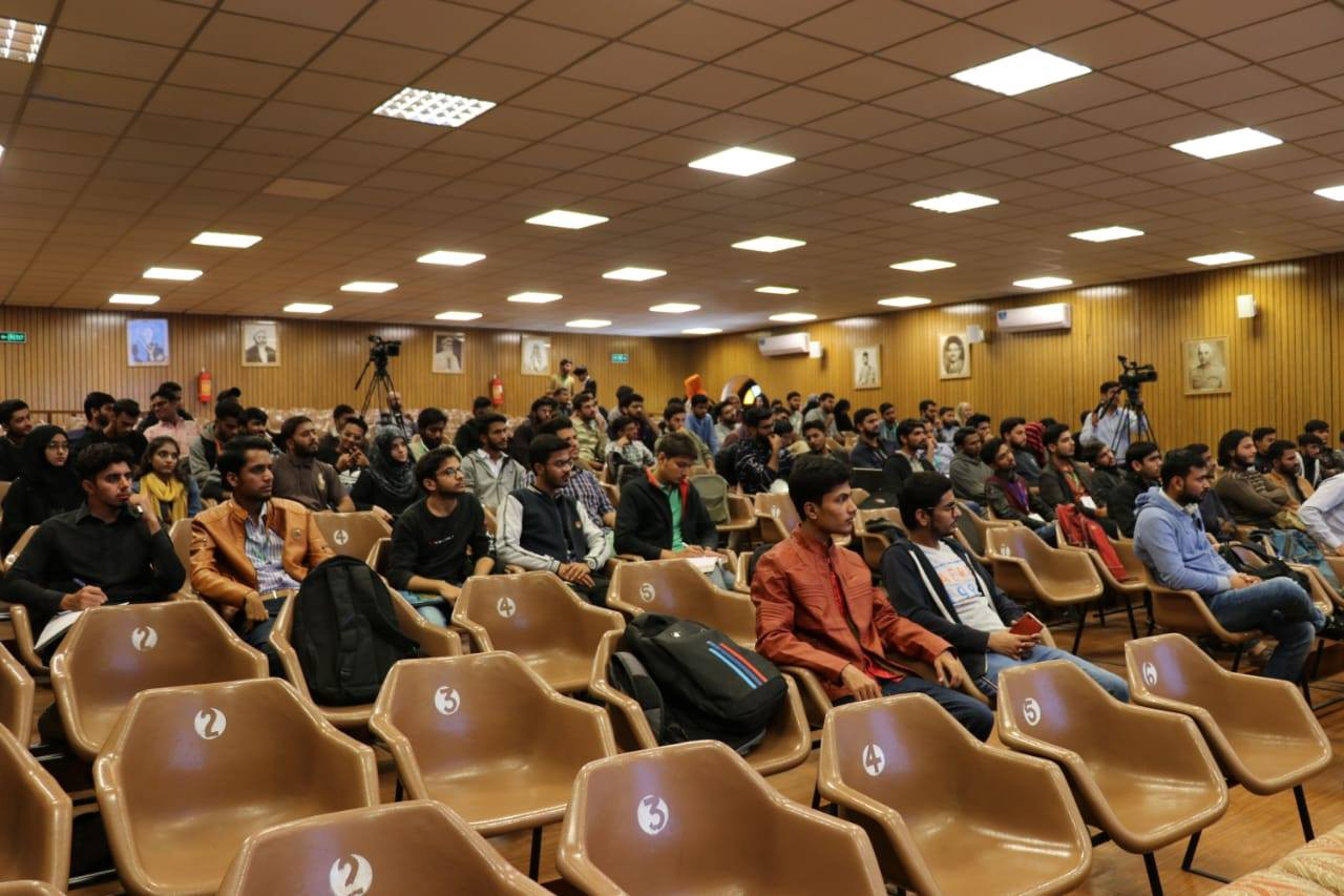 The SMIU auditorium filled with the students while my talk