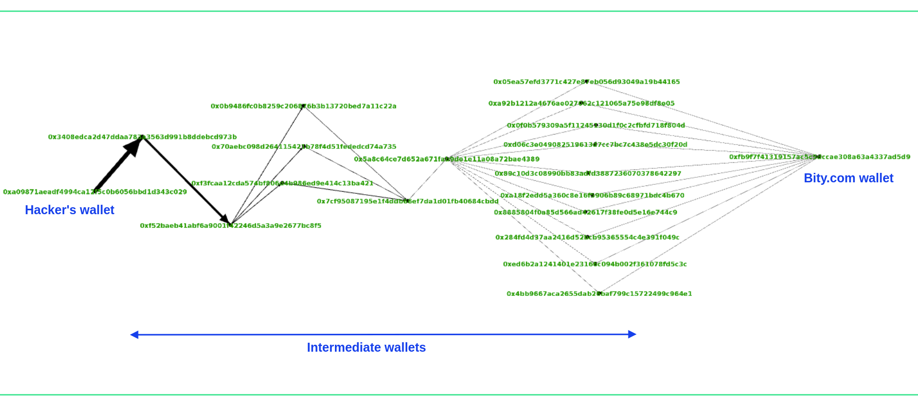 Graph view of hackers laundering funds to Bity.com (created using Gephi)