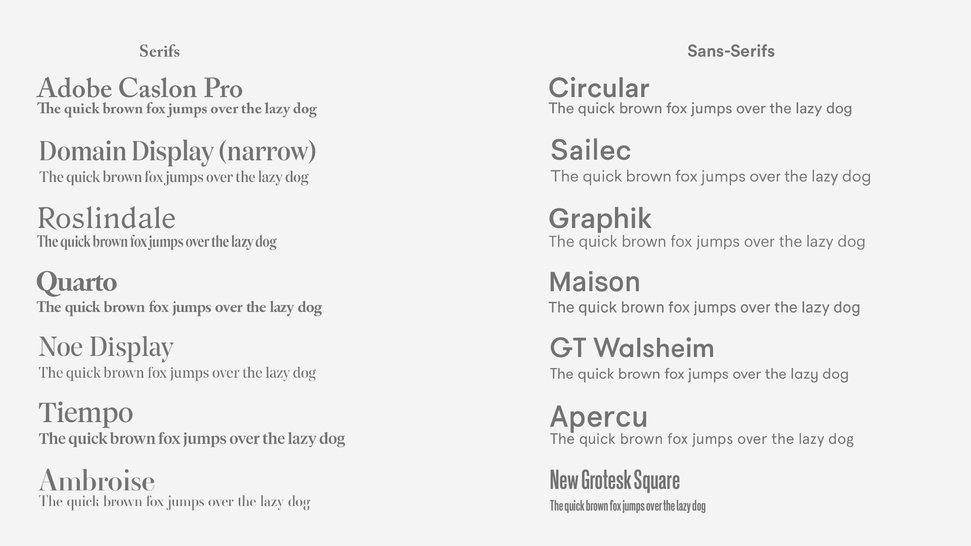 A collection of Great premium serif and sans serif typefaces