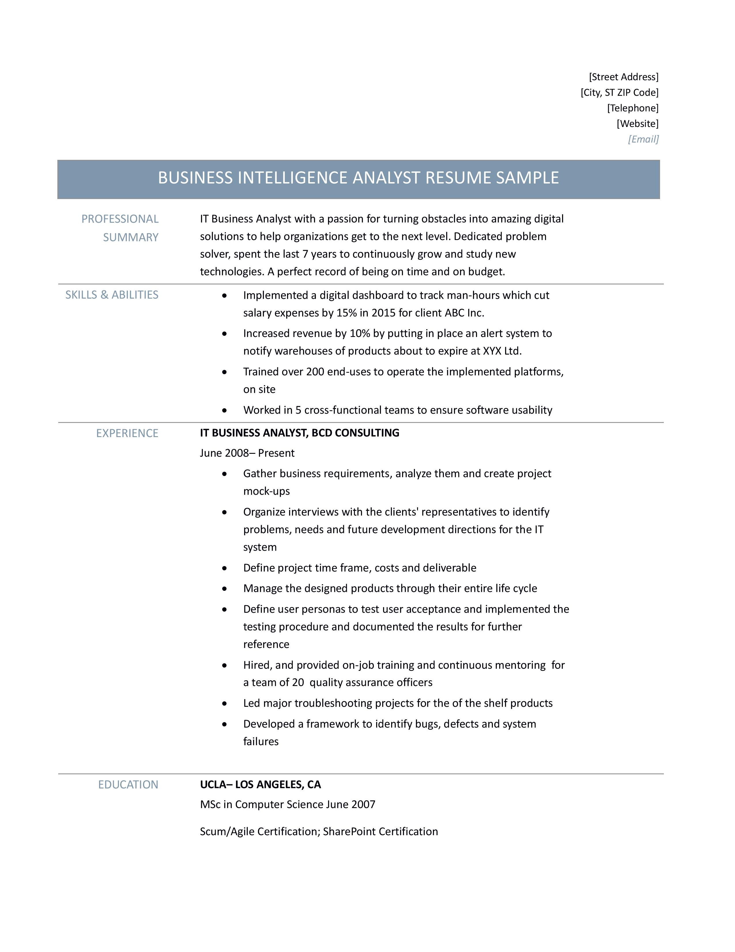 IT Business Analyst Resume Samples Tips And Templates