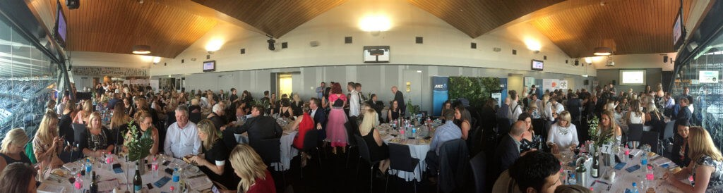 Panoramic photo of a business event