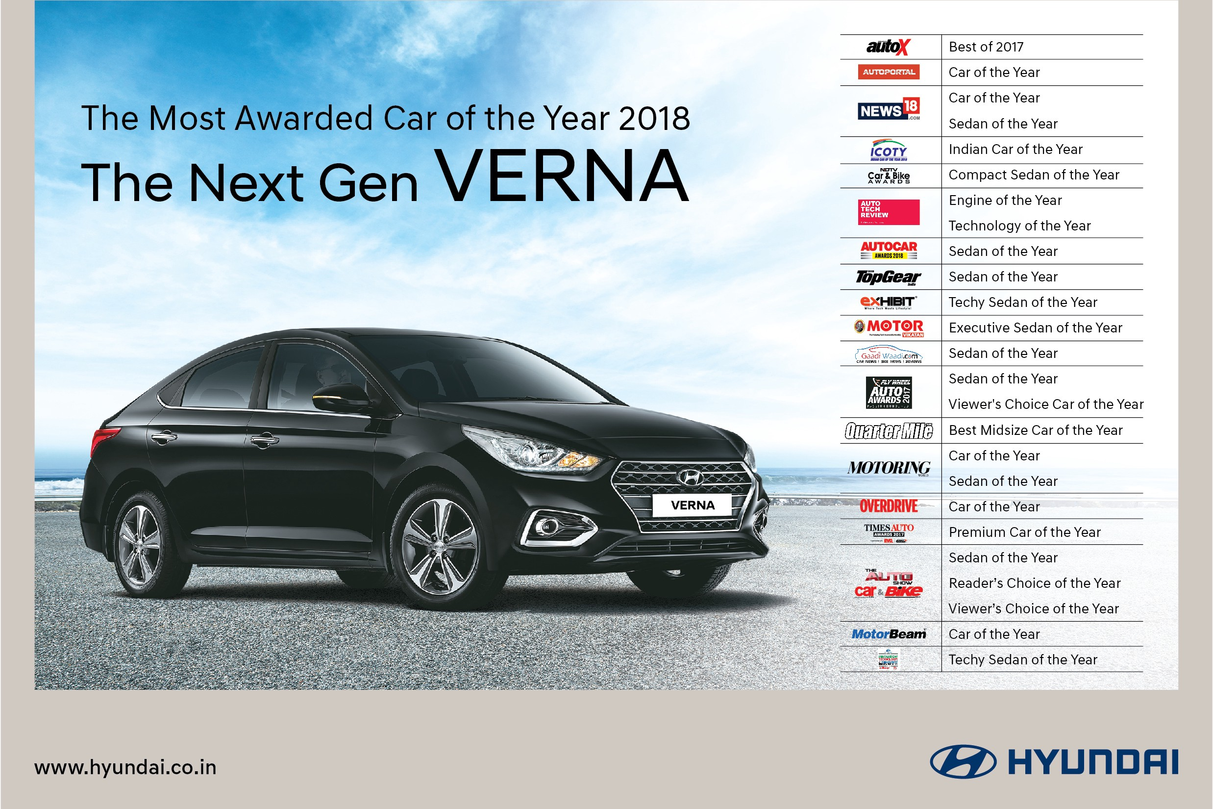 hyundai verna is india's most awarded 'car of the year' 2018
