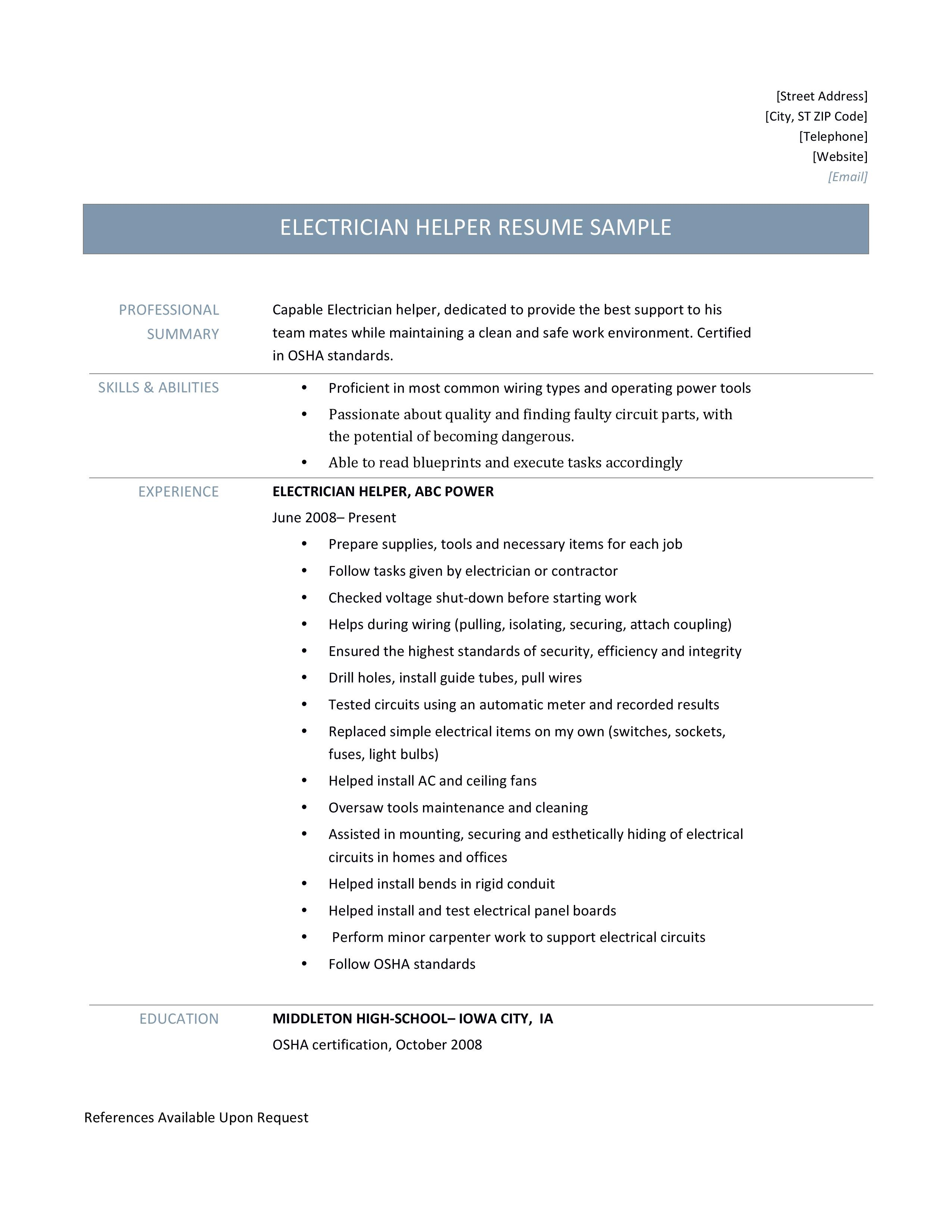 Electrician Helper Resume Samples Tips And Templates