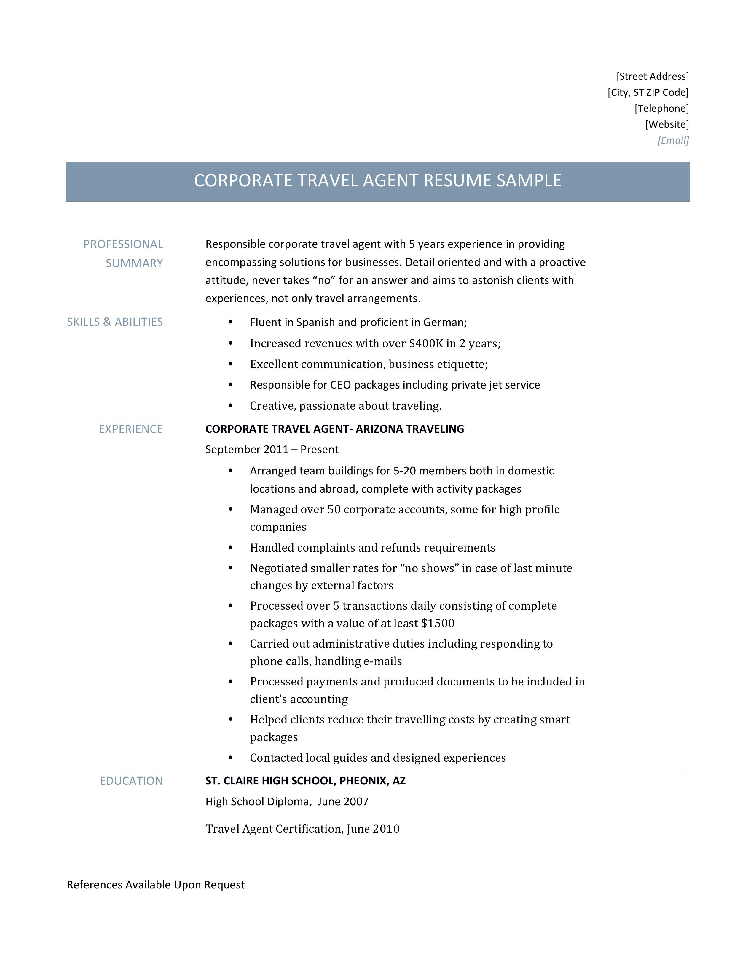 Corporate Travel Agent Resume Template And Job Description