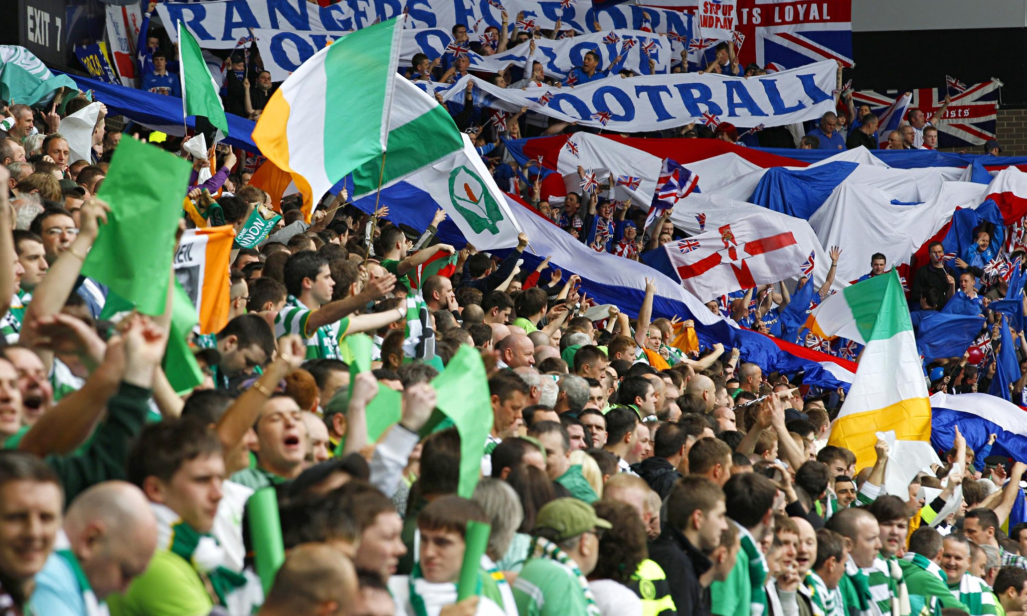 d364d94bbb7 Celtic and Rangers fans display their  national cultural allegiances