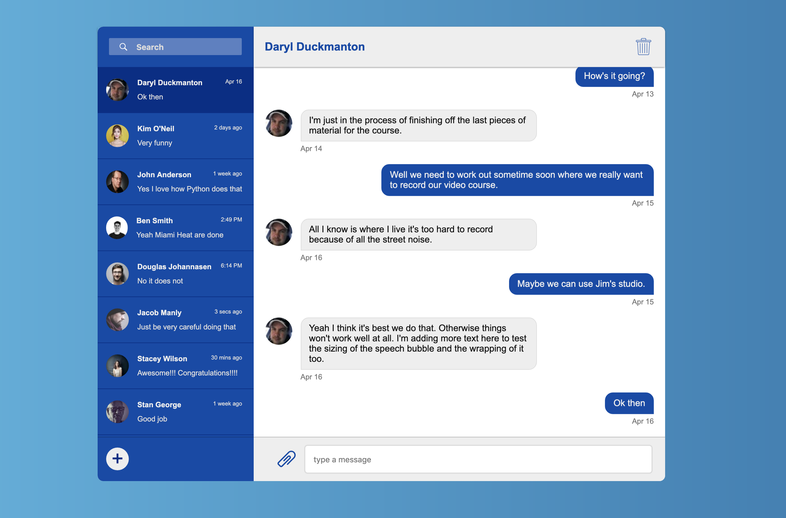 Building a Chat application using Flexbox