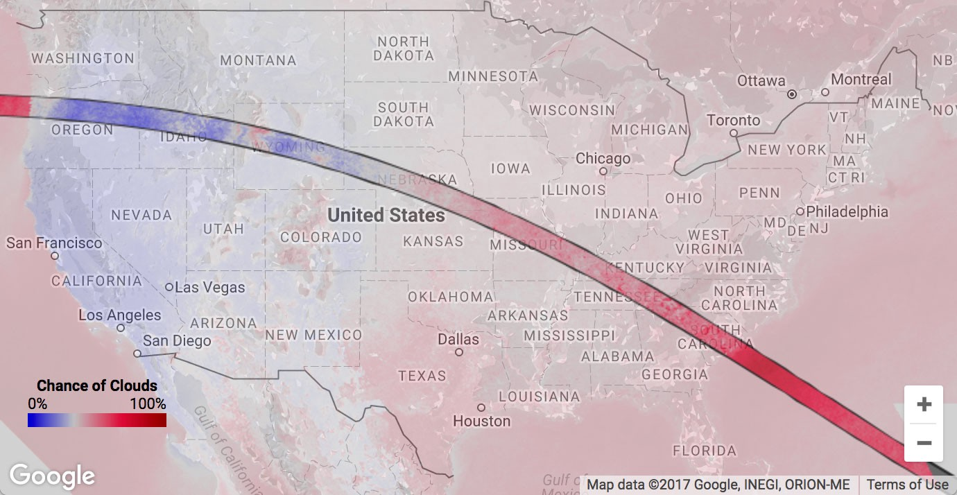 Avoiding Clouds At The August 2017 Solar Eclipse With Google Earth