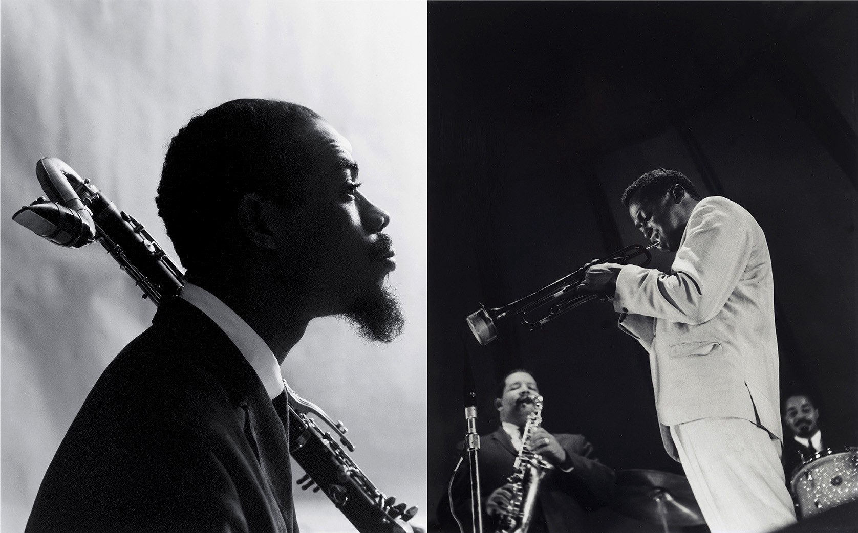 From left eric dolphy 1964 miles davis foreground with cannonball adderly lower left and jimmy cobb 1959 courtesy of chuck stewart photography