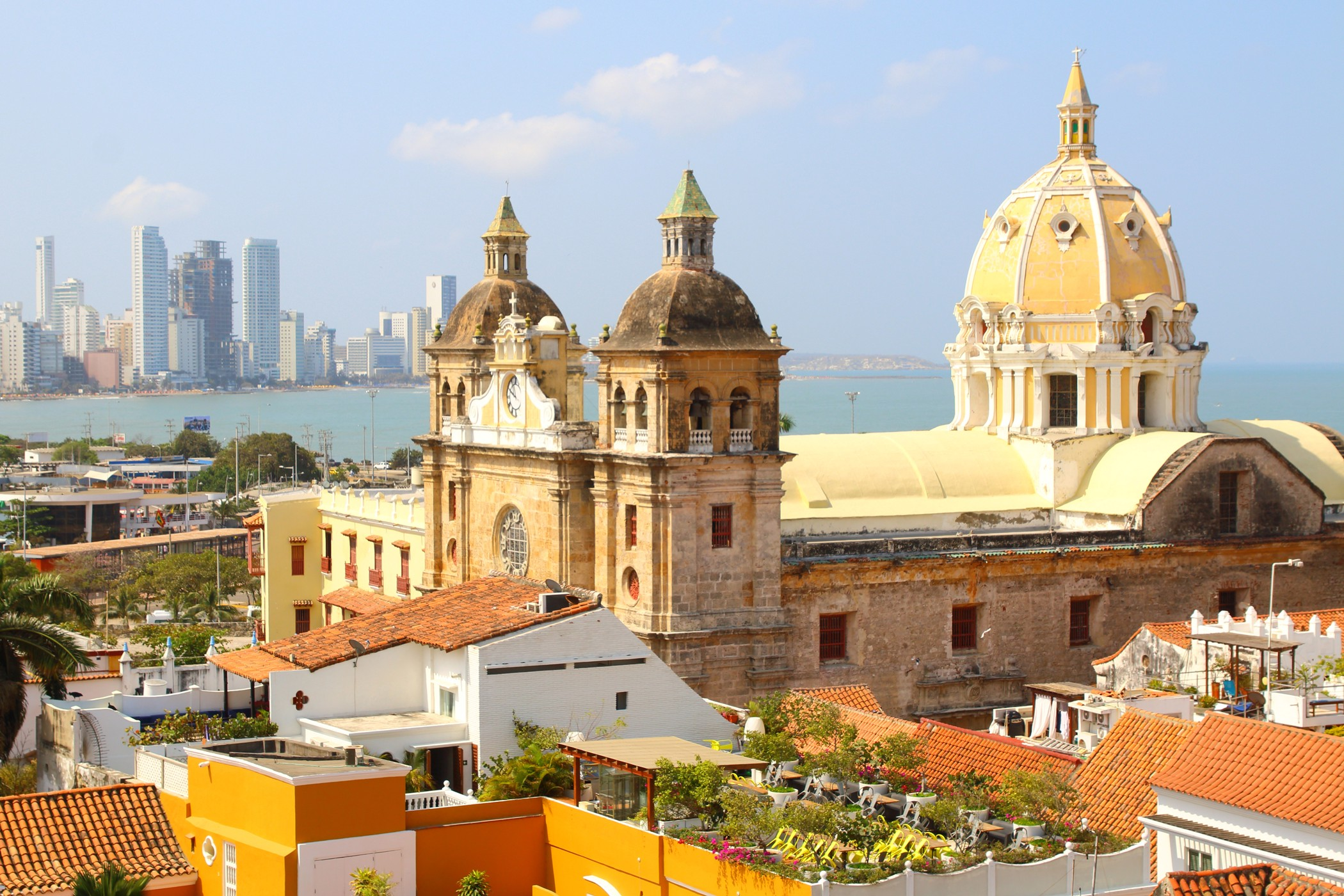 Church of St Peter Claver and bocagrande in Cartagena, Colombia. Photo by  Alex Millos