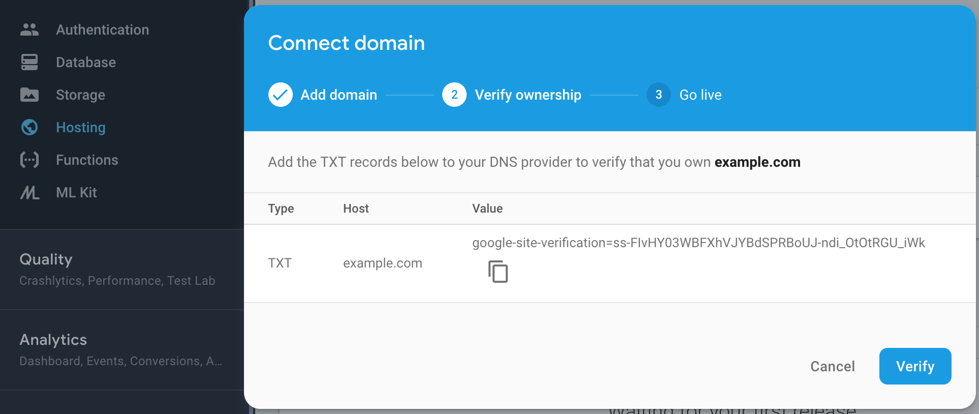 Connect custom domain to Firebase app